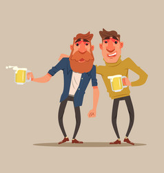 two drunk friends men characters have fun vector image