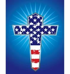 american flag cross illustration vector image vector image