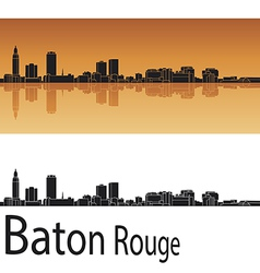 Baton Rouge skyline in orange background vector image vector image