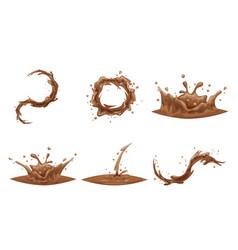 chocolate flowing splash drop wave whirlpool vector image vector image