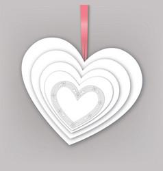Holiday heart shape greeting card gift decor vector