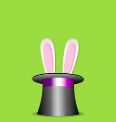 magic trick rabbit in black cylinder hat vector image