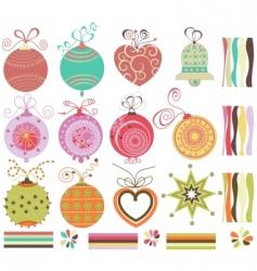 Christmas balls collection vector image vector image