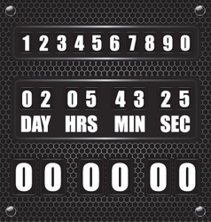 Countdown timer on octagon metal background vector image vector image