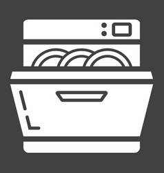 dishwasher solid icon kitchen and appliance vector image vector image