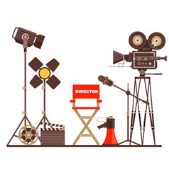 film directors workplace chair megaphone vector image vector image