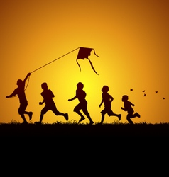 Kids flying a kite vector image vector image