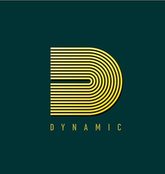 Letter D lines style retro design logo template vector image