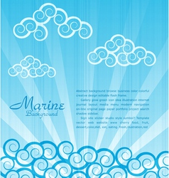 sea background with waves and clouds vector image vector image