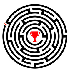 abstract labyrinth with winner trophy icon vector image