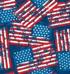 Distressed grunge American flag seamless pattern vector image vector image