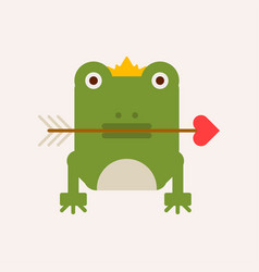 Frog with crown and arrow vector