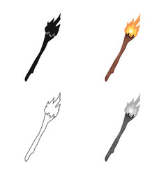 torch icon in cartoon style isolated on white vector image