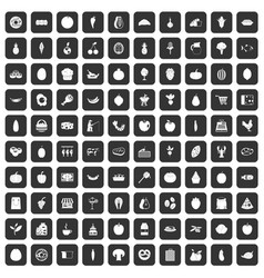 100 natural products icons set black vector image