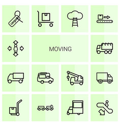 14 moving icons vector image