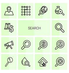 14 search icons vector image