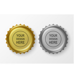 3d realistic metal golden and silver gray vector image