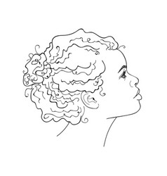 African girl linear graphic portrait vector