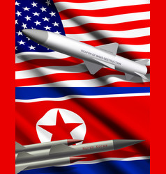 American and north korean missiles on flags vector