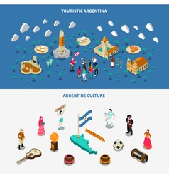 Argentina 2 isometric touristic attractions vector