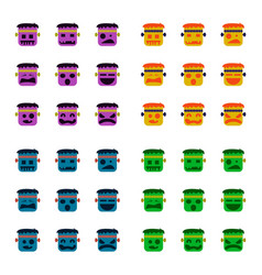 Assembly flat icons halloween monster vector