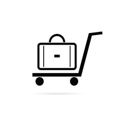 Bag on the trolley icon vector
