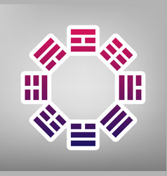 Bagua sign purple gradient icon on white vector