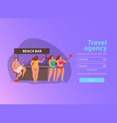 Beach bar website background vector