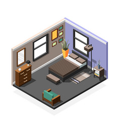 Bedroom isometric interior composition vector