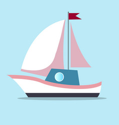 Boat with sails in white-pink color isolated on vector