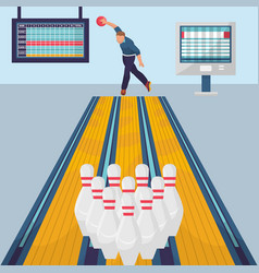 bowling game banner template flat design vector image