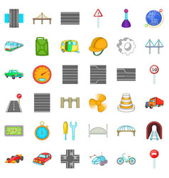 Bridge under tunnel icons set cartoon style vector