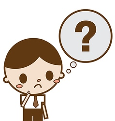 Businessman with question mark in his think bubble vector