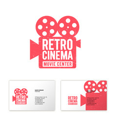 camera cinema logo movie center production vector image