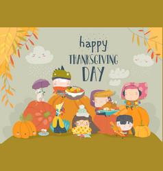 cartoon children celebrating thanksgiving day vector image