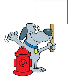 Cartoon dog holding a sign next to a fire hydrant vector