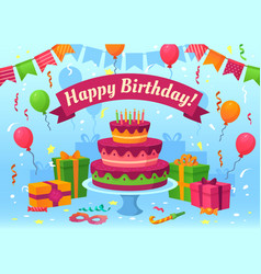 cartoon happy birthday card celebration gifts vector image