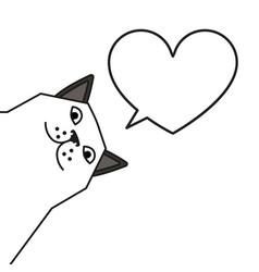 Cat meme with heart shaped speech bubble vector