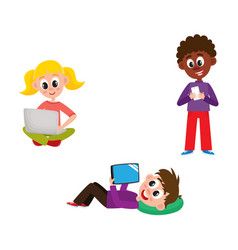 Children with hi-tech gadgets set - little kids vector