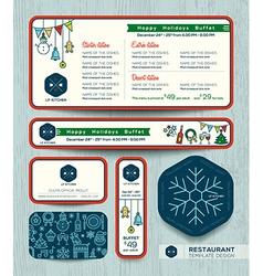 christmas party restaurant menu set design vector image