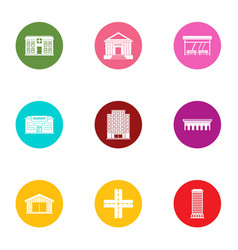 City centre icons set flat style vector