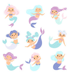collection of sweet little mermaids lovely vector image