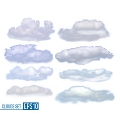 collection realistic clouds isolated on white vector image