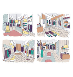 Colorful drawings of clothing boutique interior vector