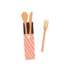 composition zero waste reusable wooden spoon vector image