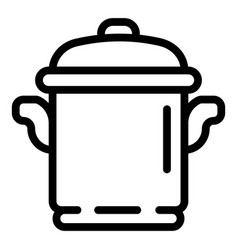 Cooker pot icon outline style vector