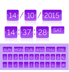 Countdown timer and purple calendar vector