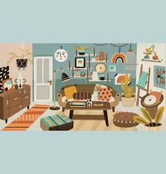 Cozy cartoon interior design vector