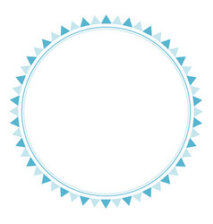 Cute blue circle flags frame for birthday party vector