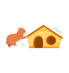 Cute hamster moving house demonstrating english vector